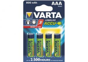 AAA R03 800mAh NiMH 1.2V Varta Longlife Ready2Use B4